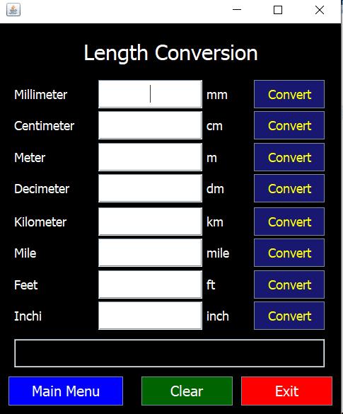Unit Converter using Java GUI [5 Frame] 3
