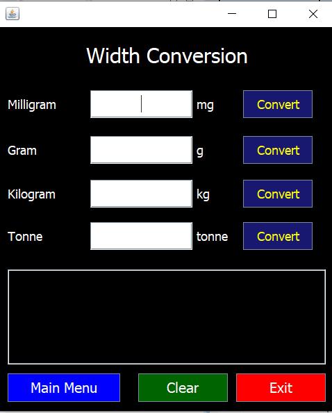 Unit Converter using Java GUI [5 Frame] 4